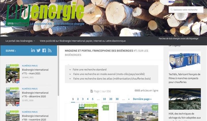 6666 articles en ligne sur les bioénergies et 38% de fréquentation en plus en un an !