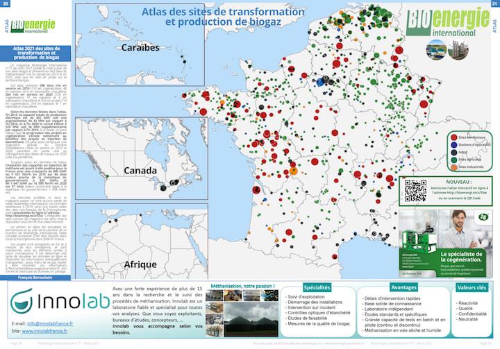 Les sites de production ou de valorisation de biogaz en projet ou mis en service en 2019 ou 2020 en France