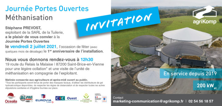 2 juillet 2021, porte ouverte à l'unité de méthanisation de la SARL de la Tuilerie